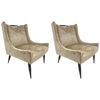 Pair of Sculptural Lounge Chairs in Velvet