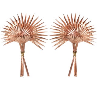 Large Pair of Copper and Brass Palmetto Palm Sconces
