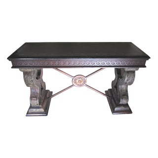 Spanish Revival Console With Black Marble Top