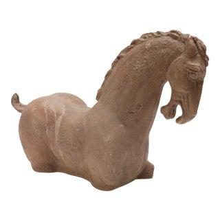 1980s Stone Horse Sculpture on an Acrylic Base