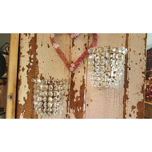Vintage Waterfall Crystal Sconces - A Pair - Image 2 of 5