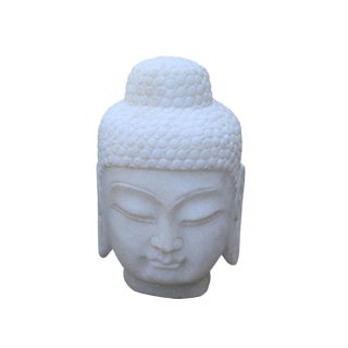 Chinese Oriental White Marble Stone Carved Buddha Head Figure