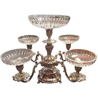 Reed & Barton Silver-Plate Epergne Crystal Liners