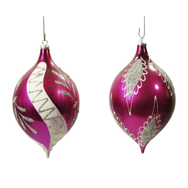 Rare Vintage Teardrop Christmas Ornaments - A Pair - Image 1 of 2