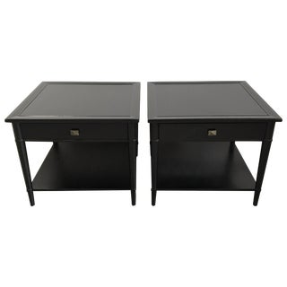 Henredon Black Lacquered Nightstands - A Pair