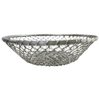 Modernist Silver Metal Centerpiece Basket