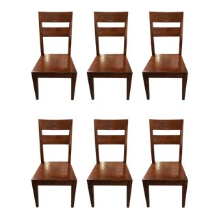 Arts & Crafts Style Wood Dining Chairs - Set of 6