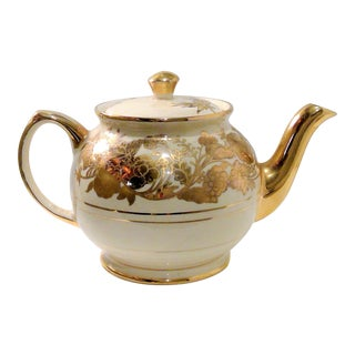 Hollywood Regency White & Gold Teapot