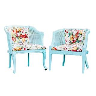 Vintage Spring Aqua Blue & Floral Cane Chairs - A Pair