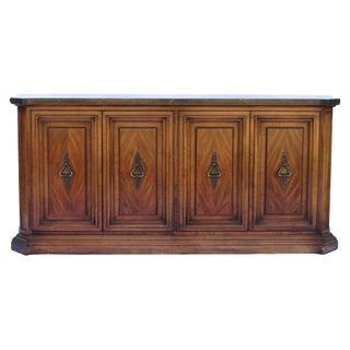 Vintage Marble & Walnut Sideboard