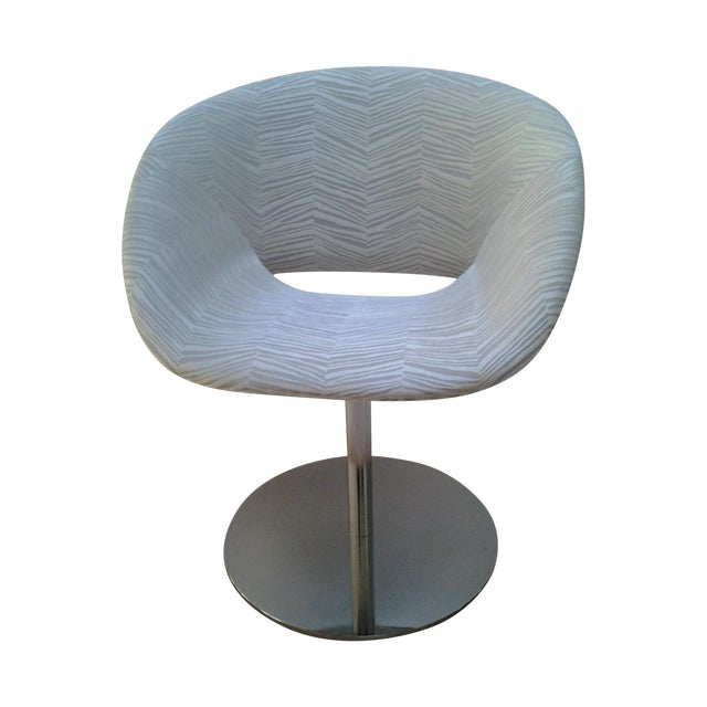 Image of Modern Upholstered Chrome Swivel Chairs - Set of 4