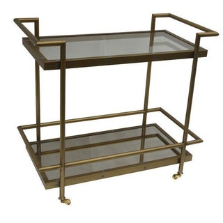 Brass Glass & Mirror Bar Cart