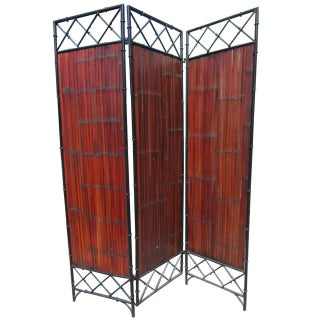 Wrought Iron & Bamboo Slat Screen