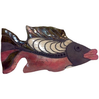 Raku Pottery Fish Sculpture