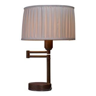 Walter Von Nessen Swing-Arm Table Lamp in Brass, American, 1950s