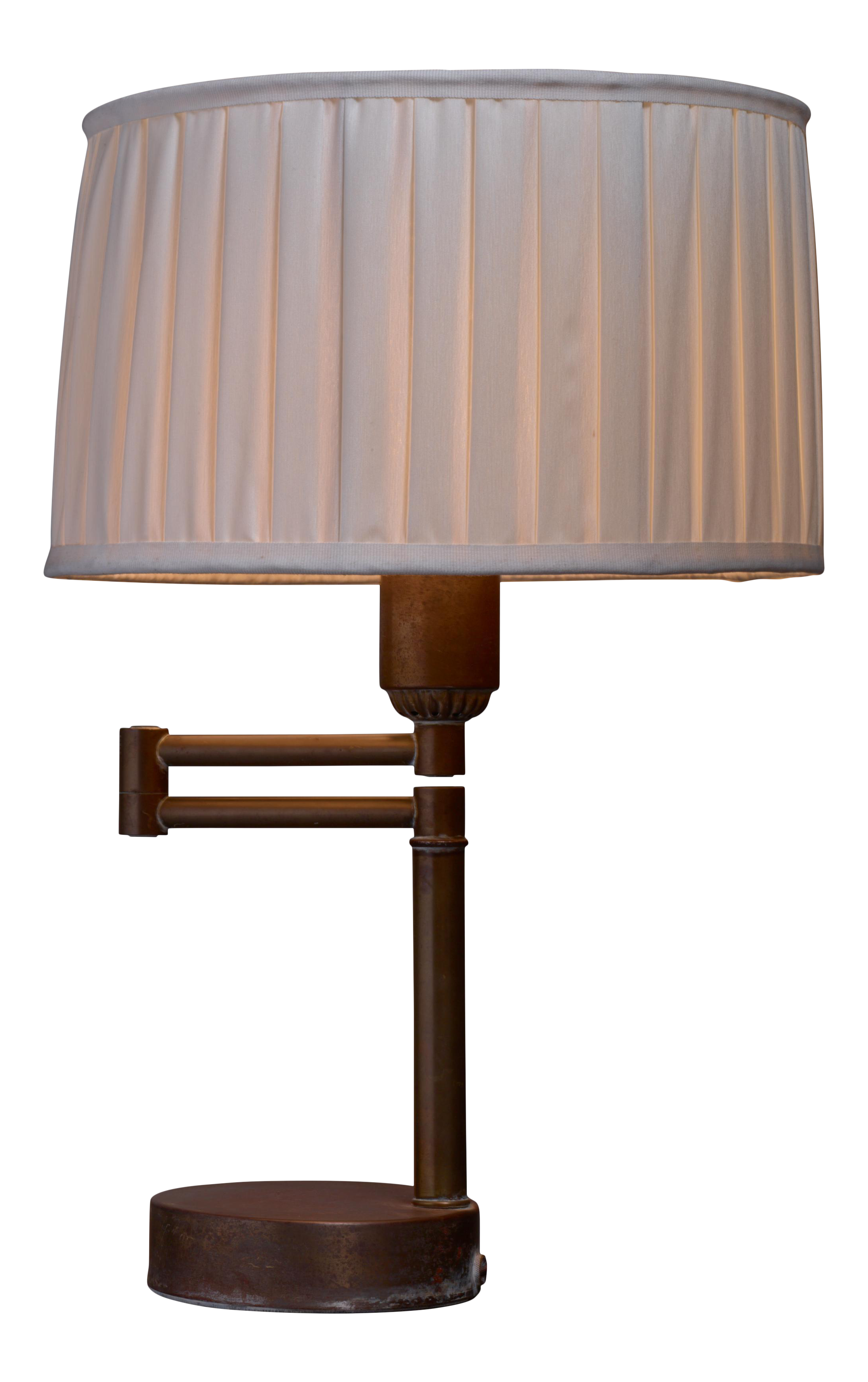 Charming Walter Von Nessen Swing Arm Table Lamp In Brass, American, 1950s   Image