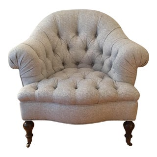 English Upholstered Armchair on Turned Legs