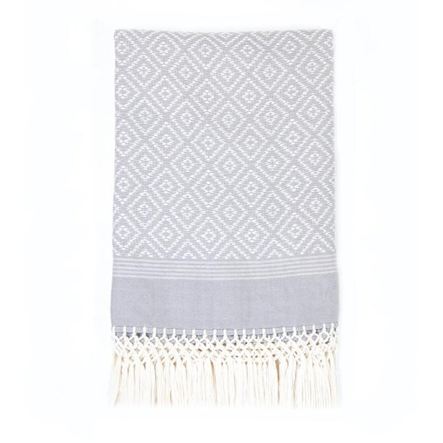 Gray Diamond Handwoven Throw - Image 2 of 6