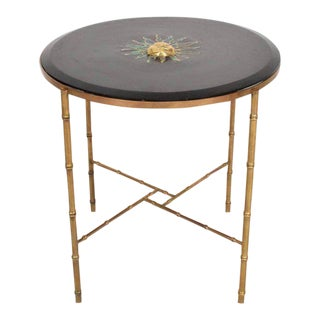 Mexican Modernist Center Table in Brass , Wood & Malachite, Pepe Mendoza