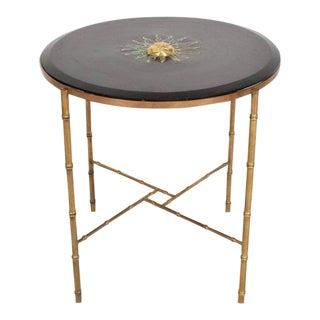 Mexican Modernist Center Table in Brass , Wood & Malachite, Pepe Mendoza