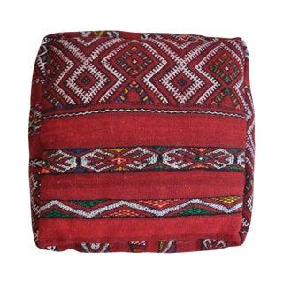 Vintage Lazar Moroccan Kilim Red Pouf Cover