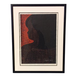 """Girl"" Signed Original Print by Kyoshi Saito, 1967"