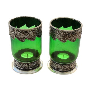 Moroccan Green Glass Candle Holders - A Pair