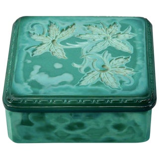 Art Deco Bohemian Czech Square Malachite Glass Box