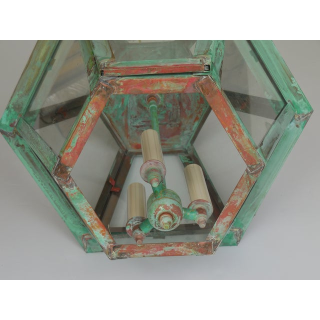 Hexagon Shabby Chic Hanging Copper Lantern - Image 6 of 11
