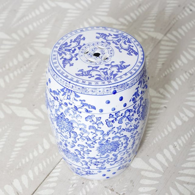 Blue & White Patterned Garden Seat - Image 3 of 4