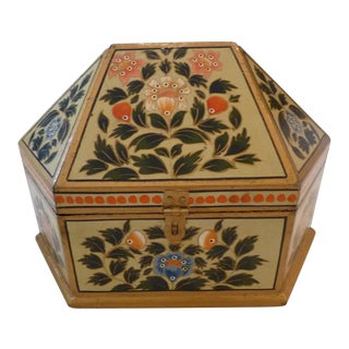 Painted Floral Hexagon Keepsake Box