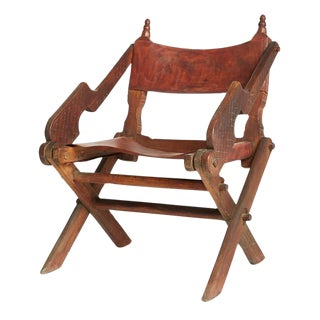 Antique Mexican Leather & Carved Wood Chair