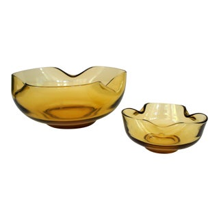 Anchor Hocking Amber Glass Bowl & Pinched Candle Holder - A Pair