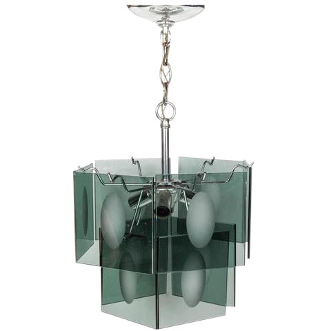 1960s Italian Smoked Glass Two Tier Chandelier - Image 1 of 4