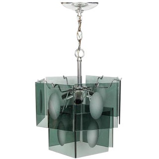 1960s Italian Smoked Glass Two Tier Chandelier