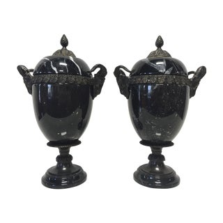 Marble & Cast Metal Rams Head Urns - Pair