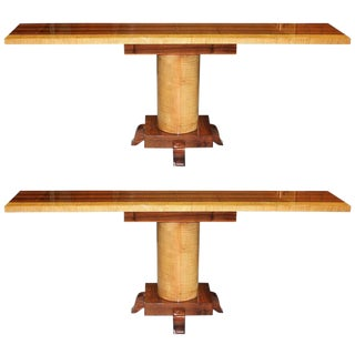 French Art Deco Palisander with Sycamore Console Tables - A Pair