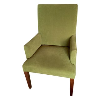 Crate & Barrel Green Linen Highback Arm Chair