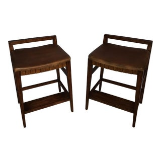 Henredon Mission Cherry Wood and Leather Bar Stools - A Pair