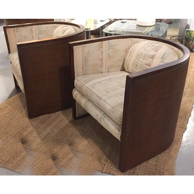 Baughman Style Mid-Century Caned Lounge Chairs- A Pair - Image 2 of 9