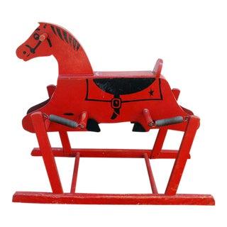 1950s Red Wooden Rocking Wonder Horse
