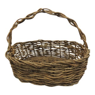 Vintage Rustic Willow Large Basket with Handle