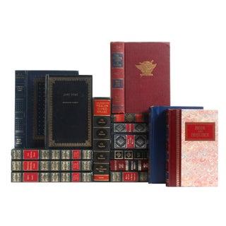 Decorative Blue & Red Classic Books - Set of 15