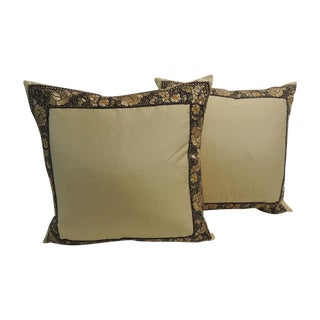 Petite Yellow Japanese Silk Pillows - A Pair