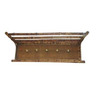 Antique Bamboo & Rattan Wall Shelf With Hooks