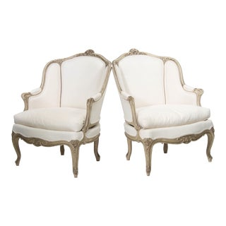 Pair 19th Century Painted Frame Bergeres