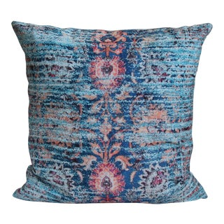 Turkish Blue Ikat Pillow-16''