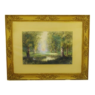 Antique Charles Day Hunt Framed & Signed Landscape Watercolor Painting