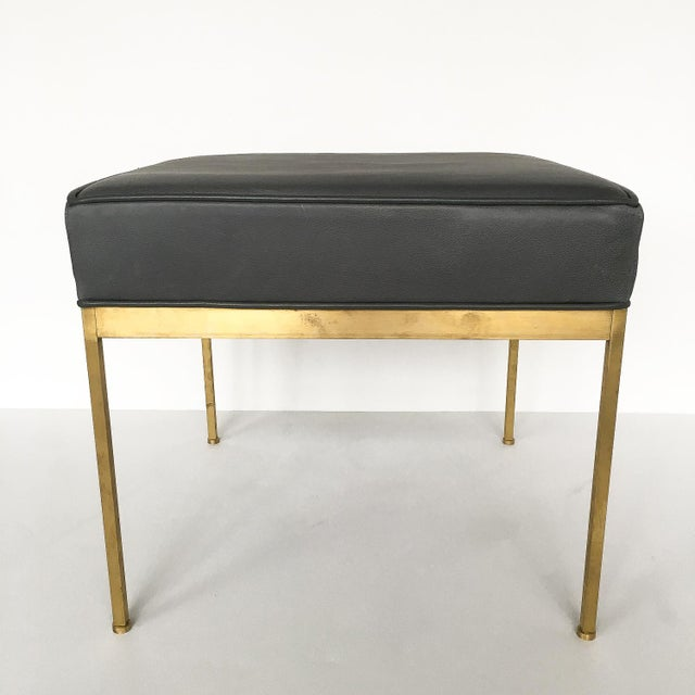 Lawson-Fenning Square Brass and Black Leather Ottomans - a Pair - Image 7 of 8