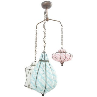Seguso Caged Murano Glass Pendant Light